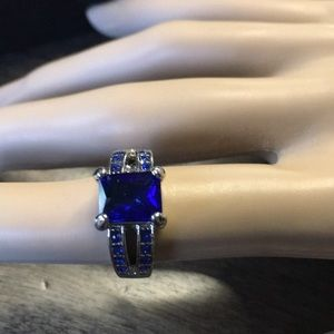 Square Blue Stone Ring Size 6